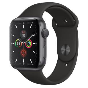 Apple Watch Series 5 44mm Space Gray z czarnym paskiem - towar w magazynie, natychmiastowa wysyłka FV 23%, odbiór osobisty 0 zł